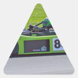 Green single seater race car triangle sticker