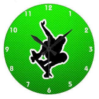 Green Skateboarding Wall Clocks
