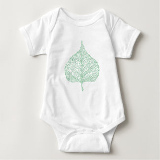 Green skeleton vein leaf drawing baby bodysuit