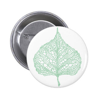 Green skeleton vein leaf drawing button