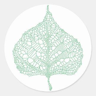 Green skeleton vein leaf drawing classic round sticker