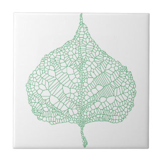 Green skeleton vein leaf drawing tile