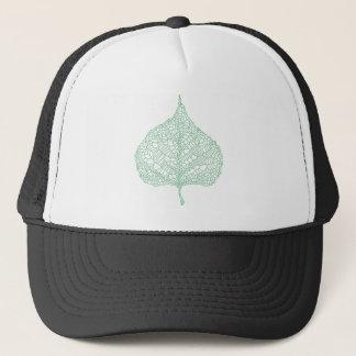 Green skeleton vein leaf drawing trucker hat