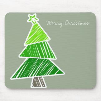 Green Sketchy Christmas Tree Mousepad