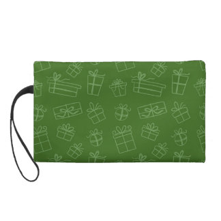 Green Sketchy Gift Pattern Wristlet Clutches