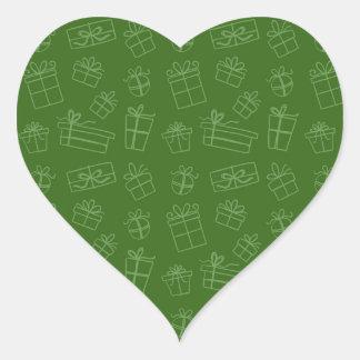 Green Sketchy Gift Pattern Heart Sticker