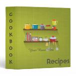 Green sketchy utensils recipe binder book