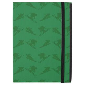 "Green ski pattern iPad pro 12.9"" case"