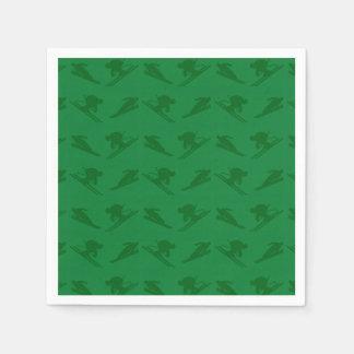 Green ski pattern paper napkin