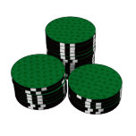 Green ski pattern poker chip set