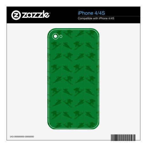 Green ski pattern skins for iPhone 4
