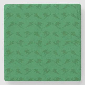 Green ski pattern stone coaster
