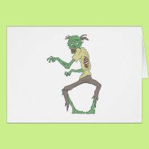 Green Skin Creepy Zombie With Rotting Flesh Card