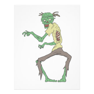 Green Skin Creepy Zombie With Rotting Flesh Letterhead