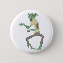 Green Skin Creepy Zombie With Rotting Flesh Pinback Button