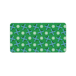 green skis and snowflakes pattern personalized address labels