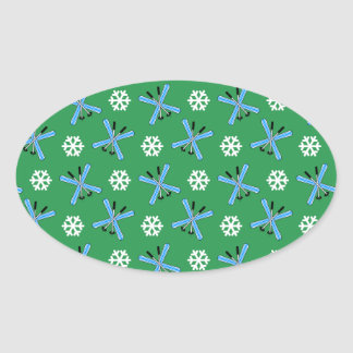green skis and snowflakes pattern oval sticker