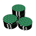 green skis and snowflakes pattern poker chip set