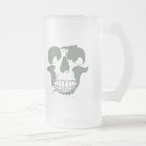 Green Skull 16 Oz Frosted Glass Beer Mug