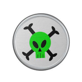 Green Skull And Crossbones Bumpster Speakers