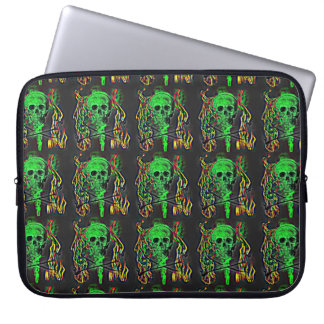 Green Skull and Crossbones Flames Laptop Sleeve