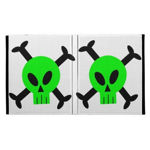 Green Skull And Crossbones iPad Folio iPad Folio Cover
