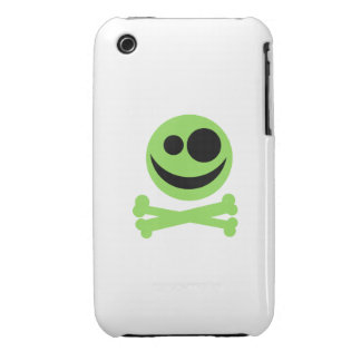 Green Skull and Crossbones. iPhone 3 Cover