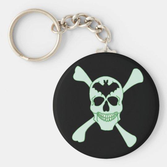 Green Skull And Crossbones Key Chain