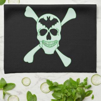 Green Skull And Crossbones Kitchen Towel