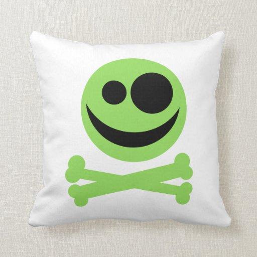 Green Skull and Crossbones. Throw Pillow