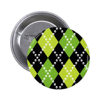 Green Skull Argyle Motif Pinback Button