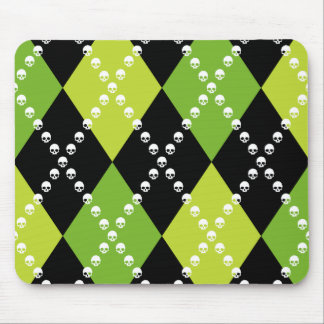 Green Skull Argyle Motif Mouse Pad