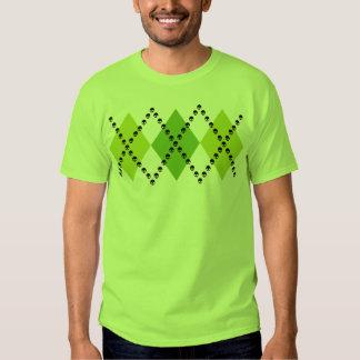 Green Skull Argyle Motif T Shirt