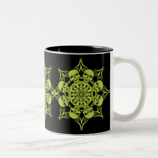 Green Skull Circle Two-Tone Coffee Mug