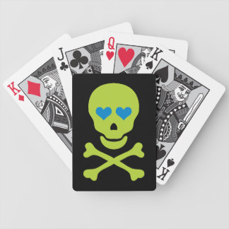 Green Skull Crossbones & Heart Eyes Bicycle Poker Deck