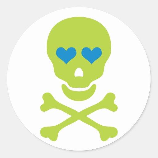 Green Skull Crossbones & Heart Eyes Round Stickers