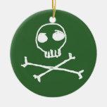 Green Skull & Crossbones Ornament