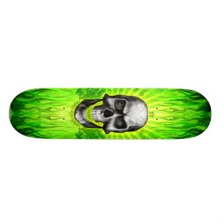 Green Skull Flames Skateboard Deck