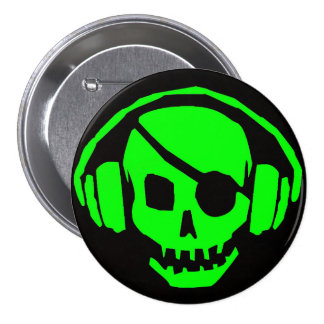 green skull head with headphones pinback button