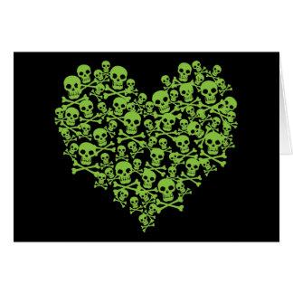 Green Skull Heart Cards