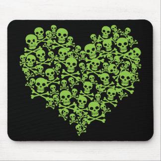 Green Skull Heart Mouse Pad