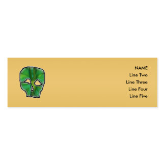 Green Skull, on Gold Color Background. Double-Sided Mini Business Cards (Pack Of 20)