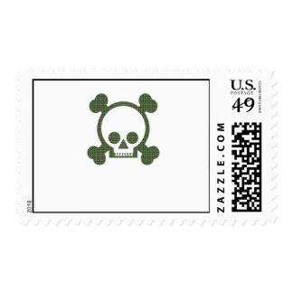 Green Skull Postage Stamps