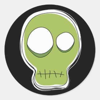 Green Skull Sticker/Black Background