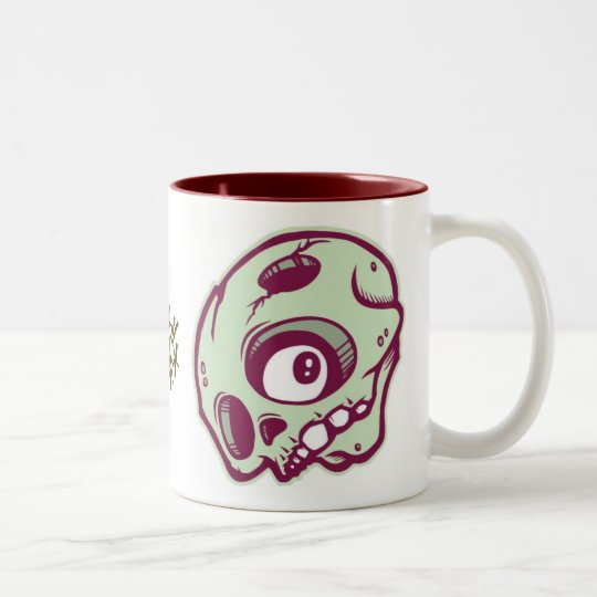 Green Skull Two-Tone Coffee Mug