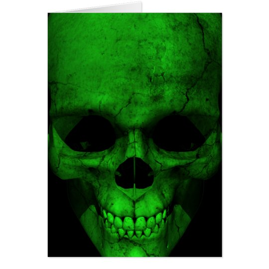 Green Skull with Black Background Card