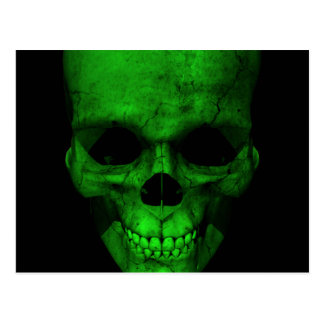 Green Skull with Black Background Post Card