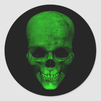 Green Skull with Black Background Sticker