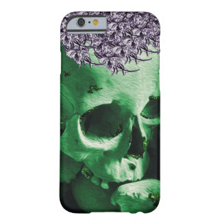 Green Skull with Cute Purple Posy Hat. Barely There iPhone 6 Case