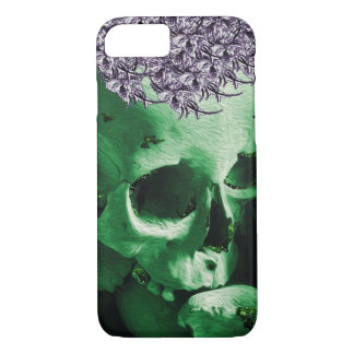 Green Skull with Cute Purple Posy Hat. iPhone 7 Case